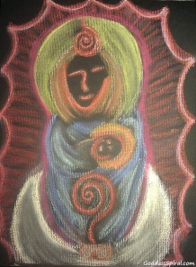 Mary Goddess with child Paola Suarez sm