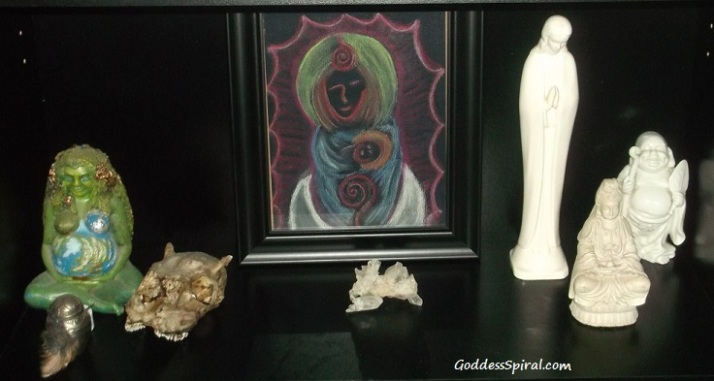 Goddess Mary with Child Print on Cheryls altar